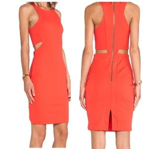 Karina Grimaldi Cut Out Bodycon Red Dress S